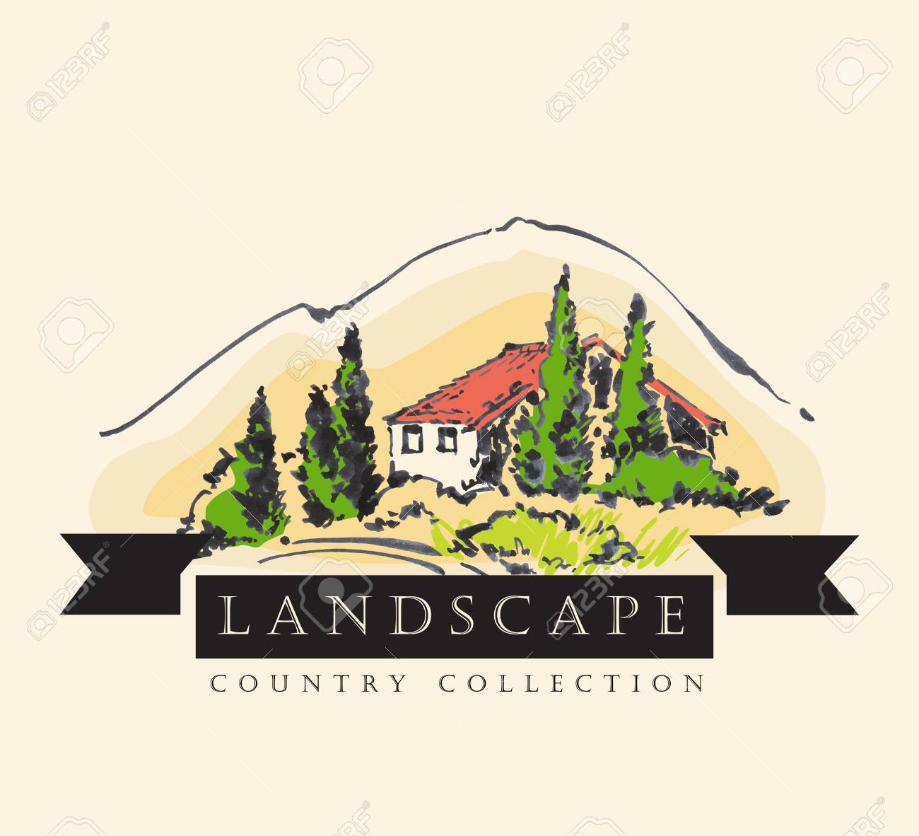 Soulful Pen Hand Vector Illustration Country Style Landscape Design Country Style Building Landscapes Ltd Pen Hand Vector Illustration Made Invintage Country Ink Country Ink outdoor Country Style Landscape