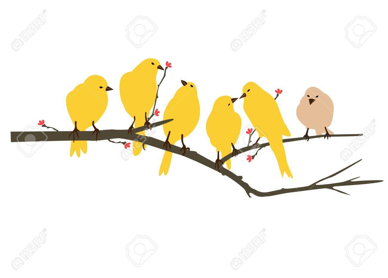 Sticker Wall Vector - Yellow bird wall decals