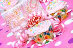 Appealing A Happy Birthday Stock Happy Birthday Writing Happy Birthday Lady Pink Iced Cupcake Pink Iced Cupcake A Happy Birthday Ribbons Aroud Andparty Present