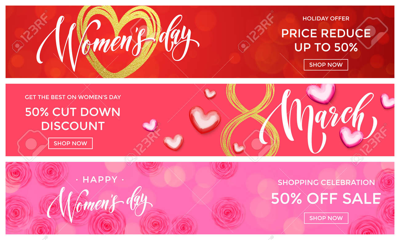 Calligraphy Templates Online Women Day Sale Gold Glitter Online Shopping Web Banner Templates