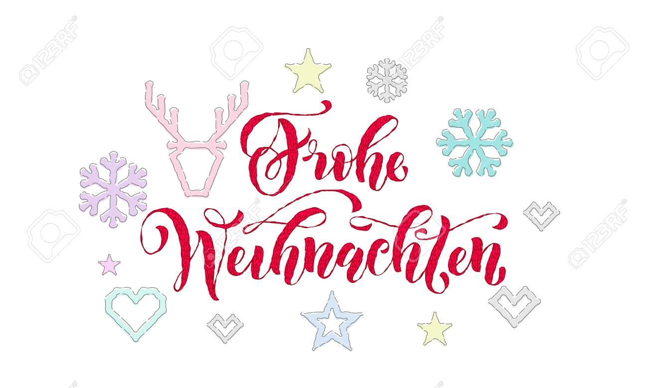 Design Weihnachten Frohe Weihnachten German Merry Christmas Knitted Calligraphy