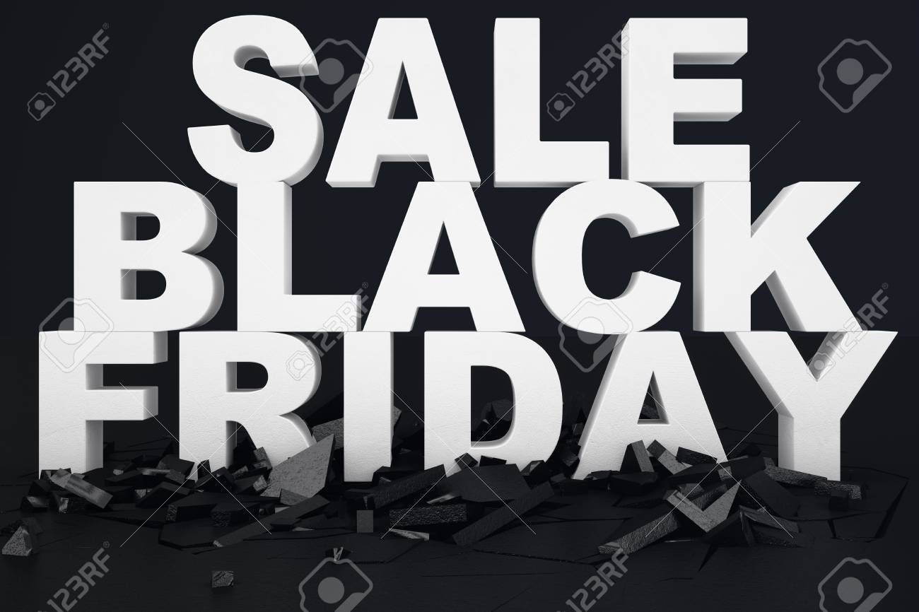 Black Sale 3d Illustration Black Friday Sale Message For Shop Business Shopping Store Banner For Black Friday 3d Text In Black And White Color Modern Design