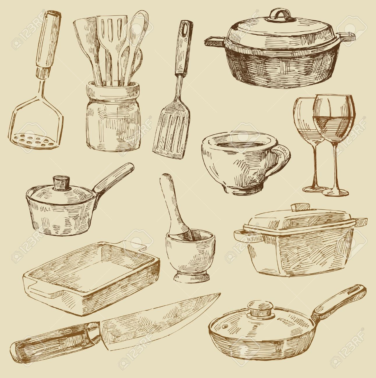 Vintage Kitchen Utensils Illustration vintage kitchen illustration