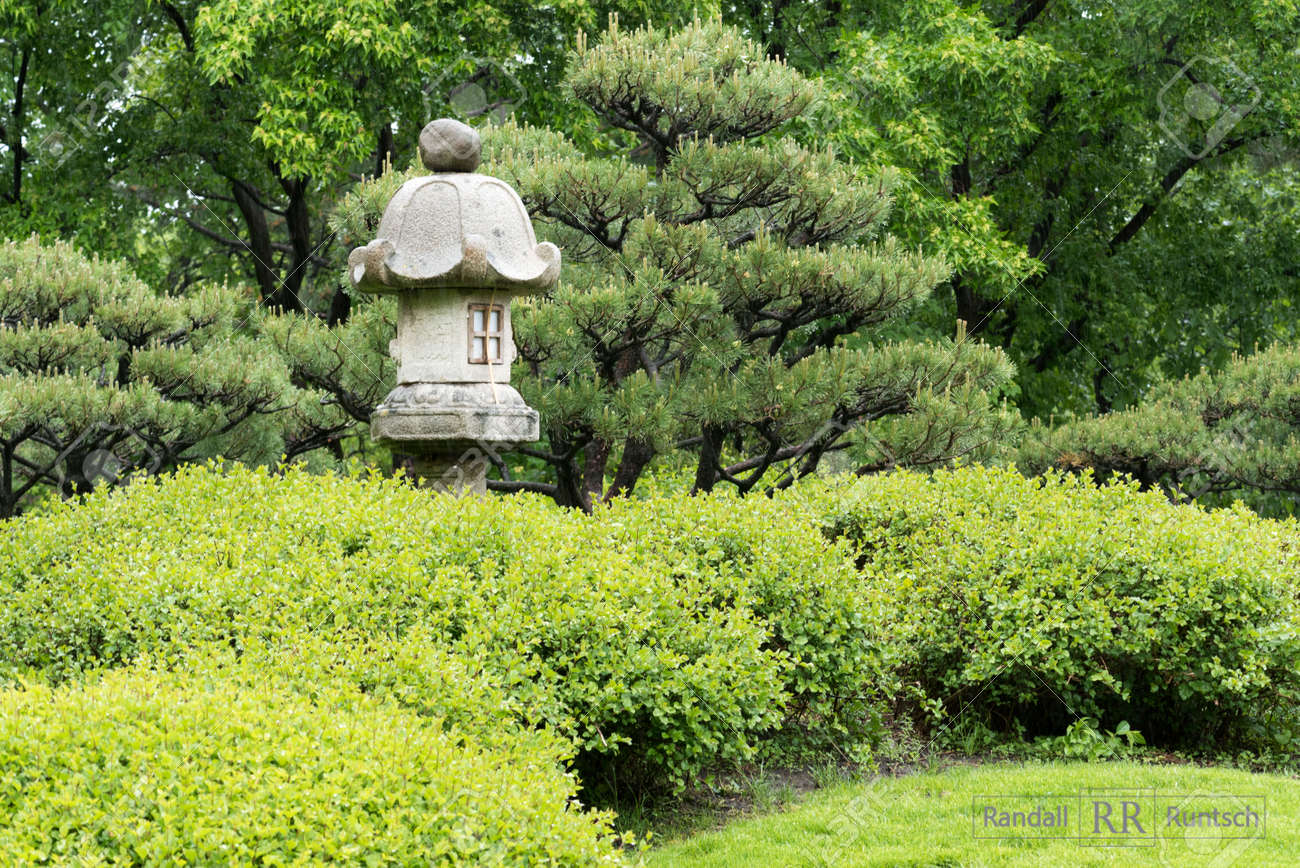 Trees And Shrubs Stone Lantern Trees And Shrubs In A Japanese Garden