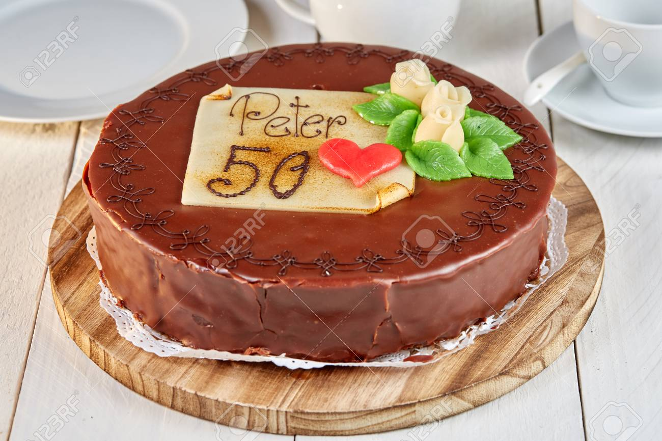 Kuchen Mit Marzipan Sacher Torte Chocolate Cake With Marzipan And Number 50 And Name