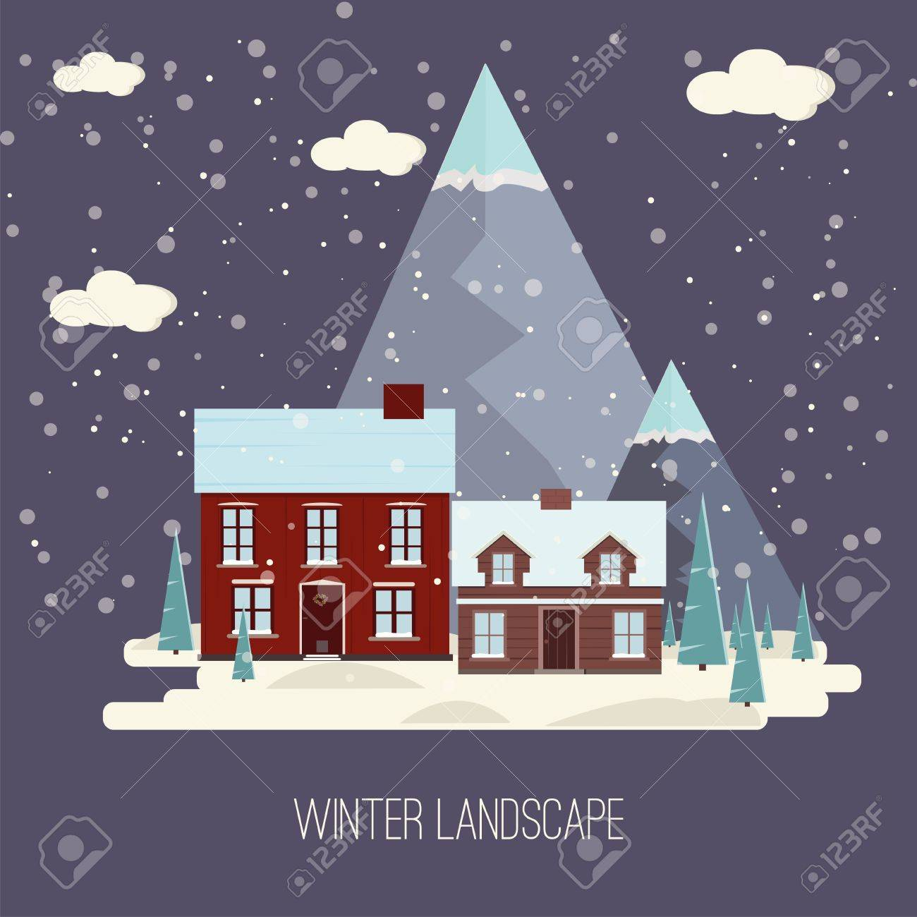 Natale Real Estate Winter Snow Urban Countryside Landscape City Village Real Estate