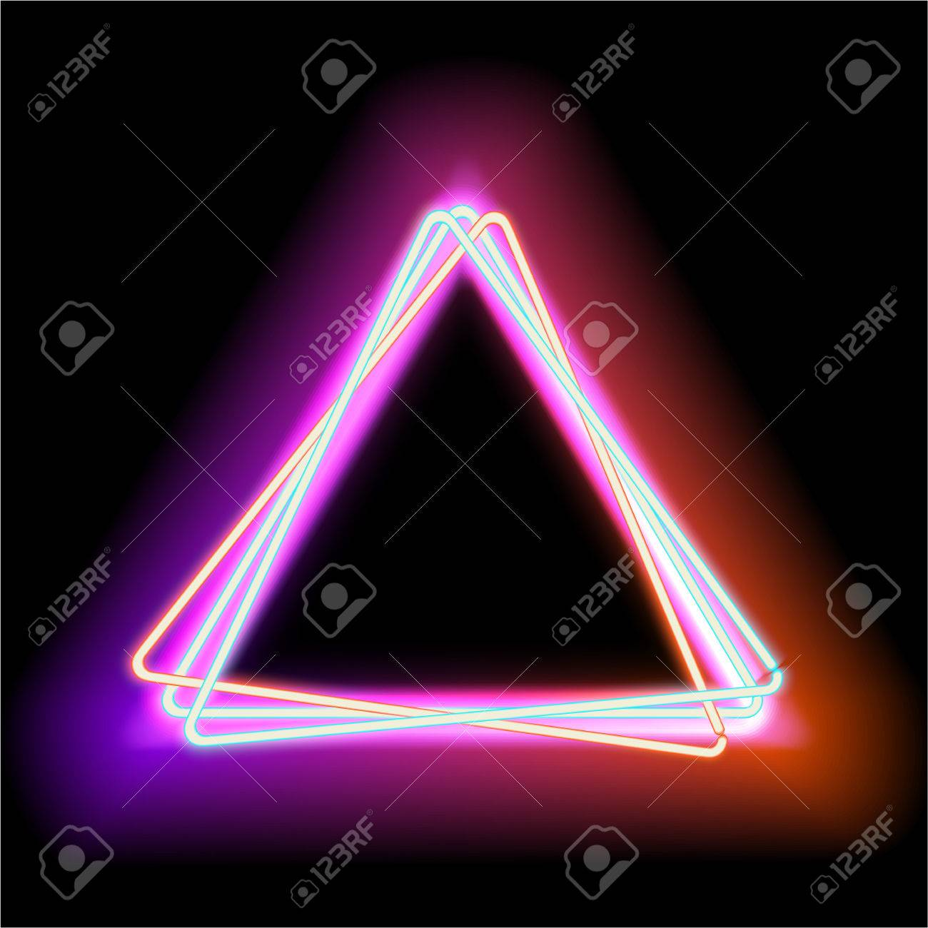 Neon Lamp Neon Triangle Neon Red Light Vector Electric Frame Vintage