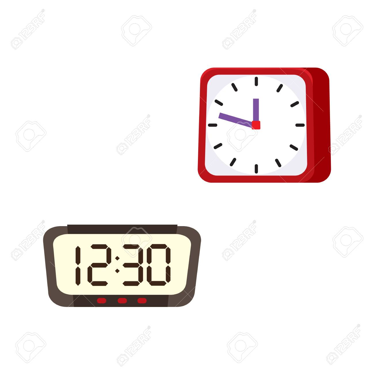 Simple Modern Alarm Clock Vector Flat Analog Digital Square Rectangle Table Simple Modern