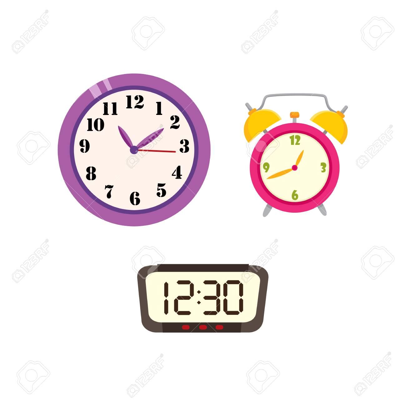 Simple Modern Alarm Clock Flat Vector Analog Wall Mounted Round Clock Digital Rectangle