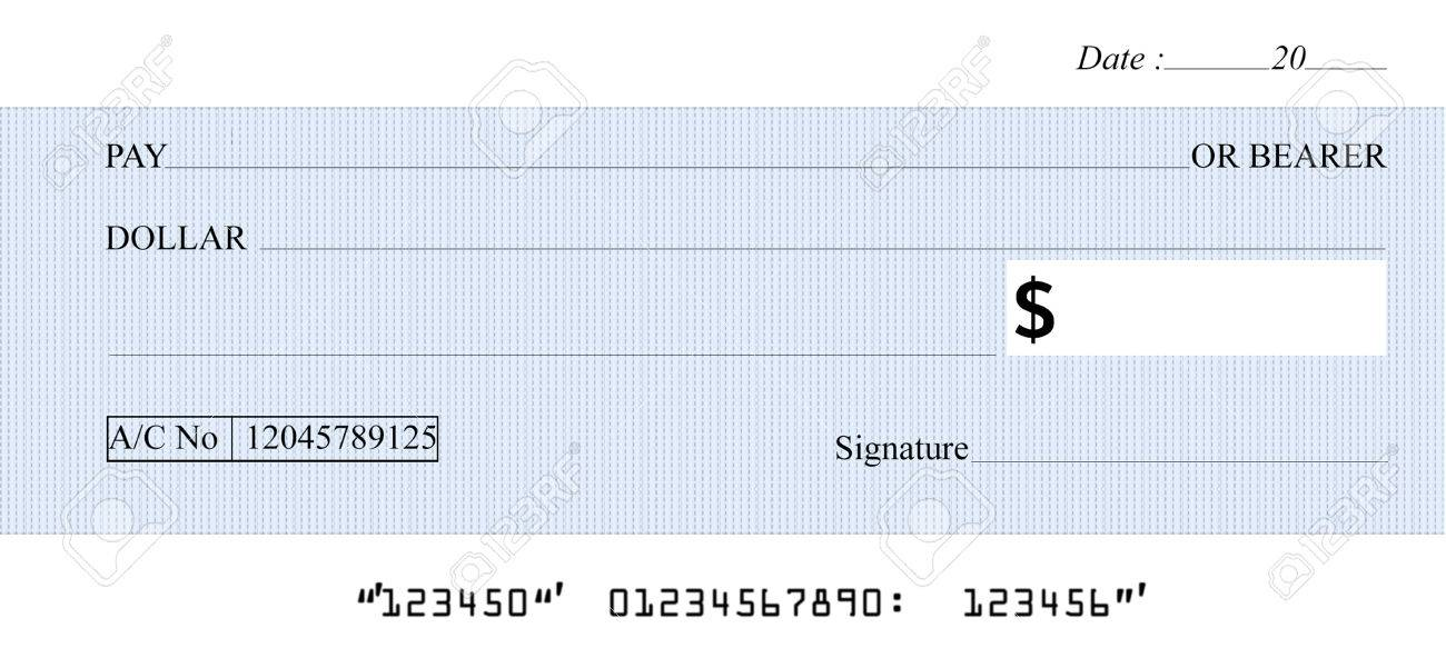 Blank Check In White Background Stock Photo, Picture And Royalty