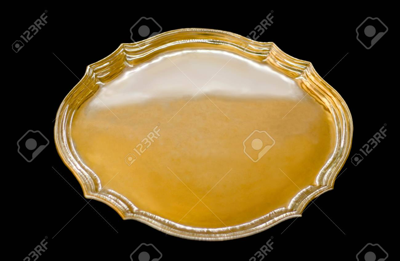 Gold Serving Tray Golden And Silver Shimmering Oval Serving Tray Black Background