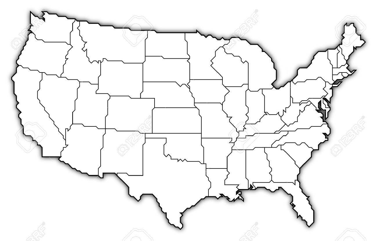 United States Outline Map Us Map With States Stock Images US - Usa map abbreviations