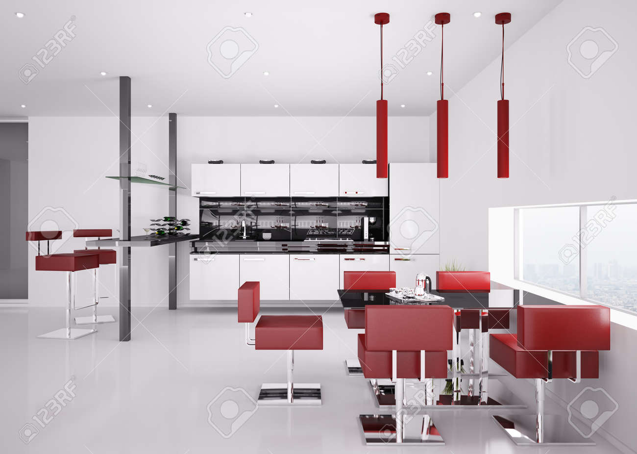 8407667 Interior of modern white kitchen with red chairs 3d render Stock Photo