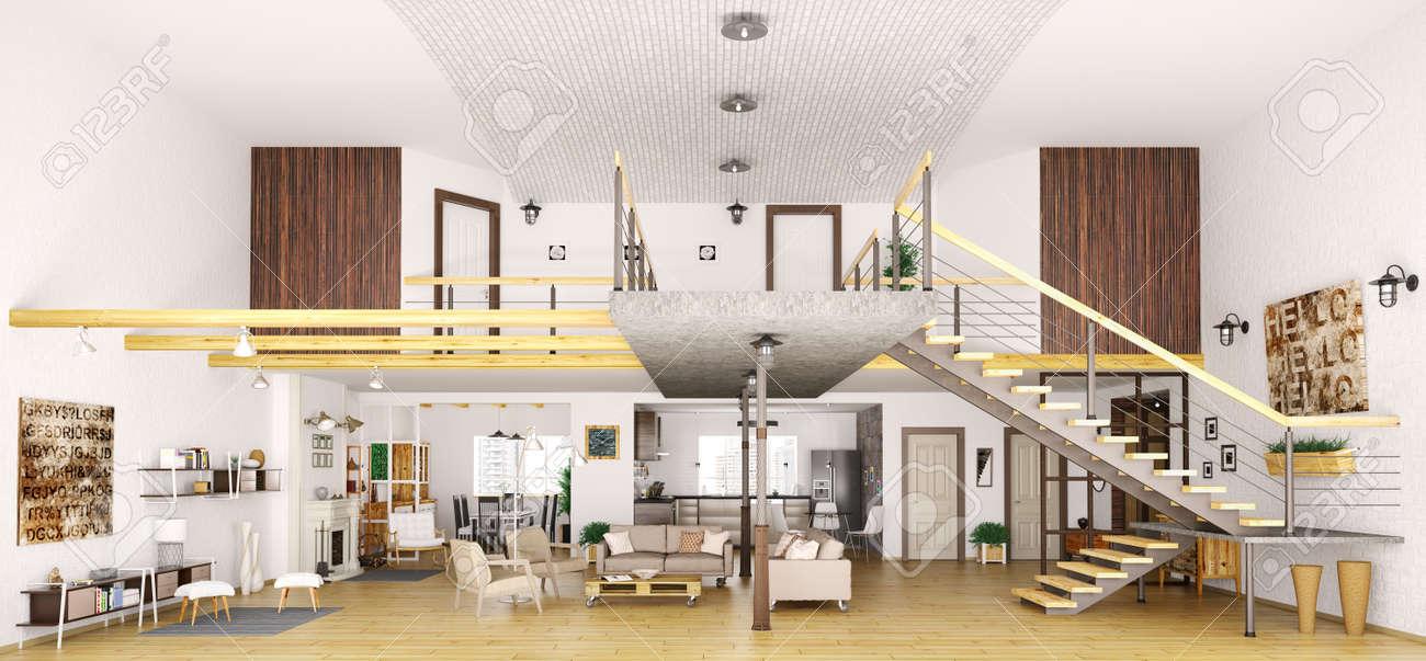 Schön Moderne Loft Wohnung In Der Innen Schnitt, Wohnzimmer, Flur, Küche    Esszimmer