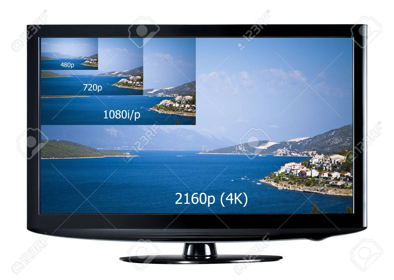 Modern Tv 4k Television Display With Comparison Of Resolutions Ultra Hd