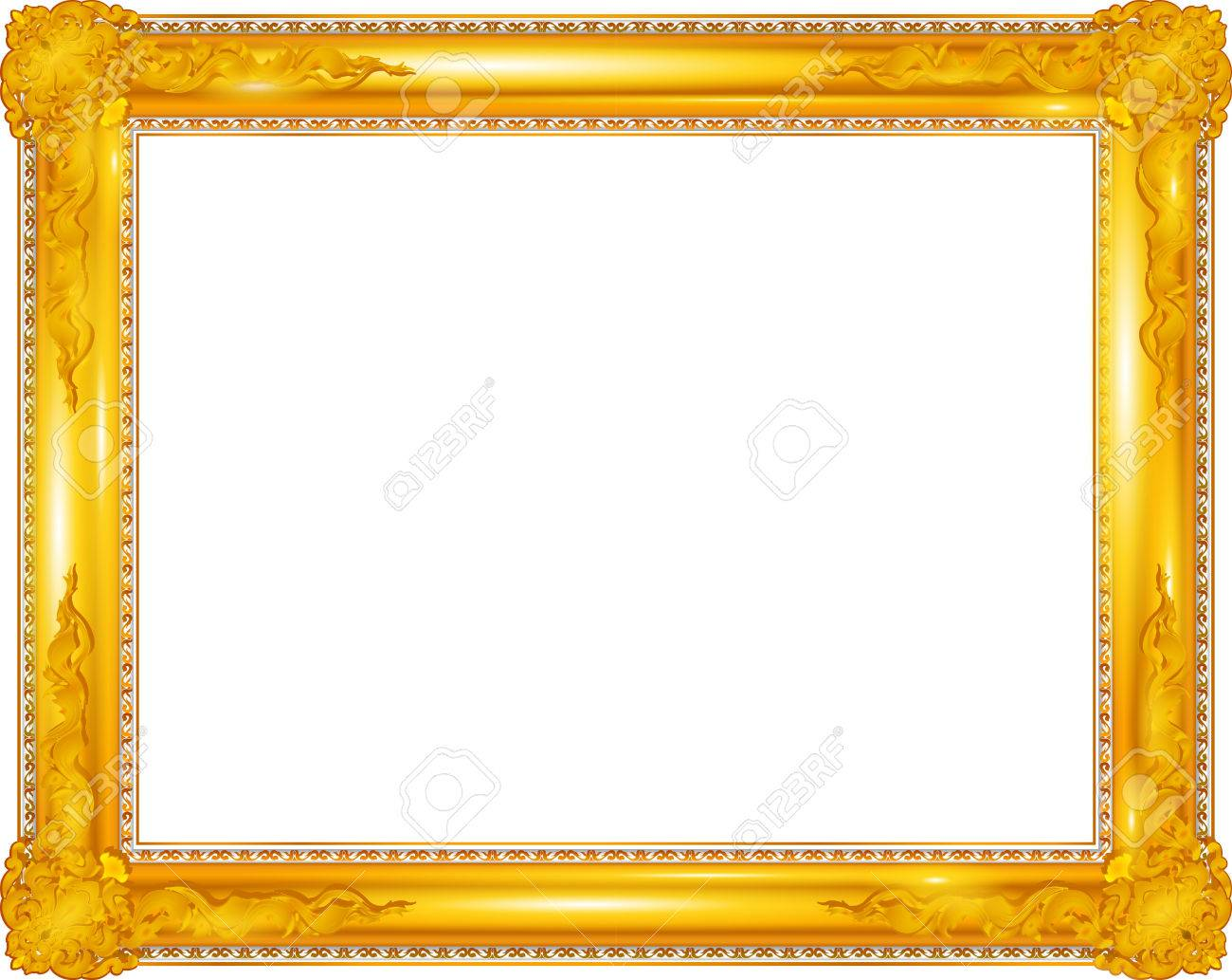 Gold Rahmen Gold Photo Frame With Corner Line Floral For Picture, Design.. Royalty Free Cliparts, Vectors, And Stock Illustration. Image 64993224.