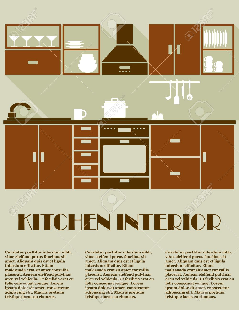 Modern Kitchen Interior In Brown Colors With Modular Cabinets Royalty Free Cliparts Vectors And Stock Illustration Image 38924210