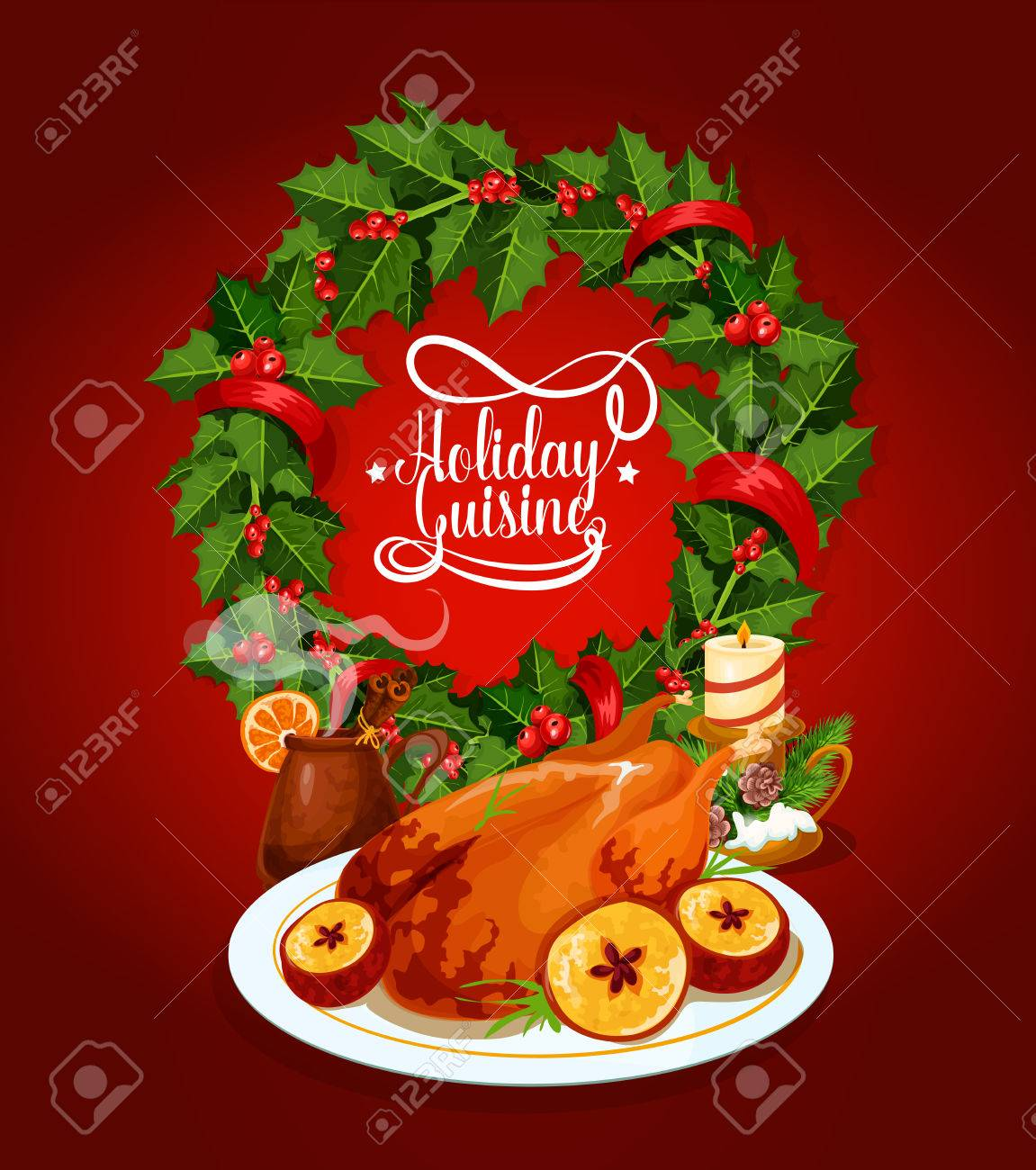 Poster Cuisine Christmas Turkey Festive Cuisine Poster Baked Turkey With Apple