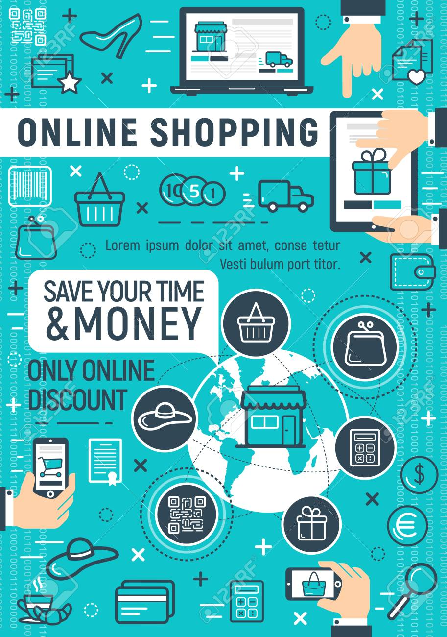 Poster Online Kaufen Online Shopping Poster For Internet Discount Store And Payment.. Royalty Free Cliparts, Vectors, And Stock Illustration. Image 106761328.