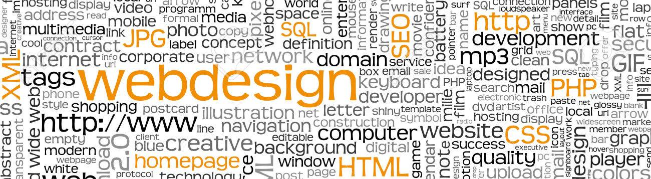 Webdesign Keyword Tag Cloud Panorama With Many Specific Web Design