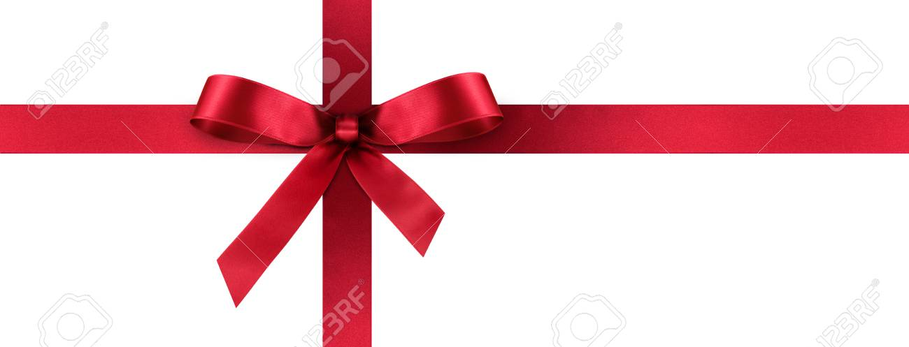 Red Satin Gift Ribbon With Decorative Bow - Horizontal Panorama
