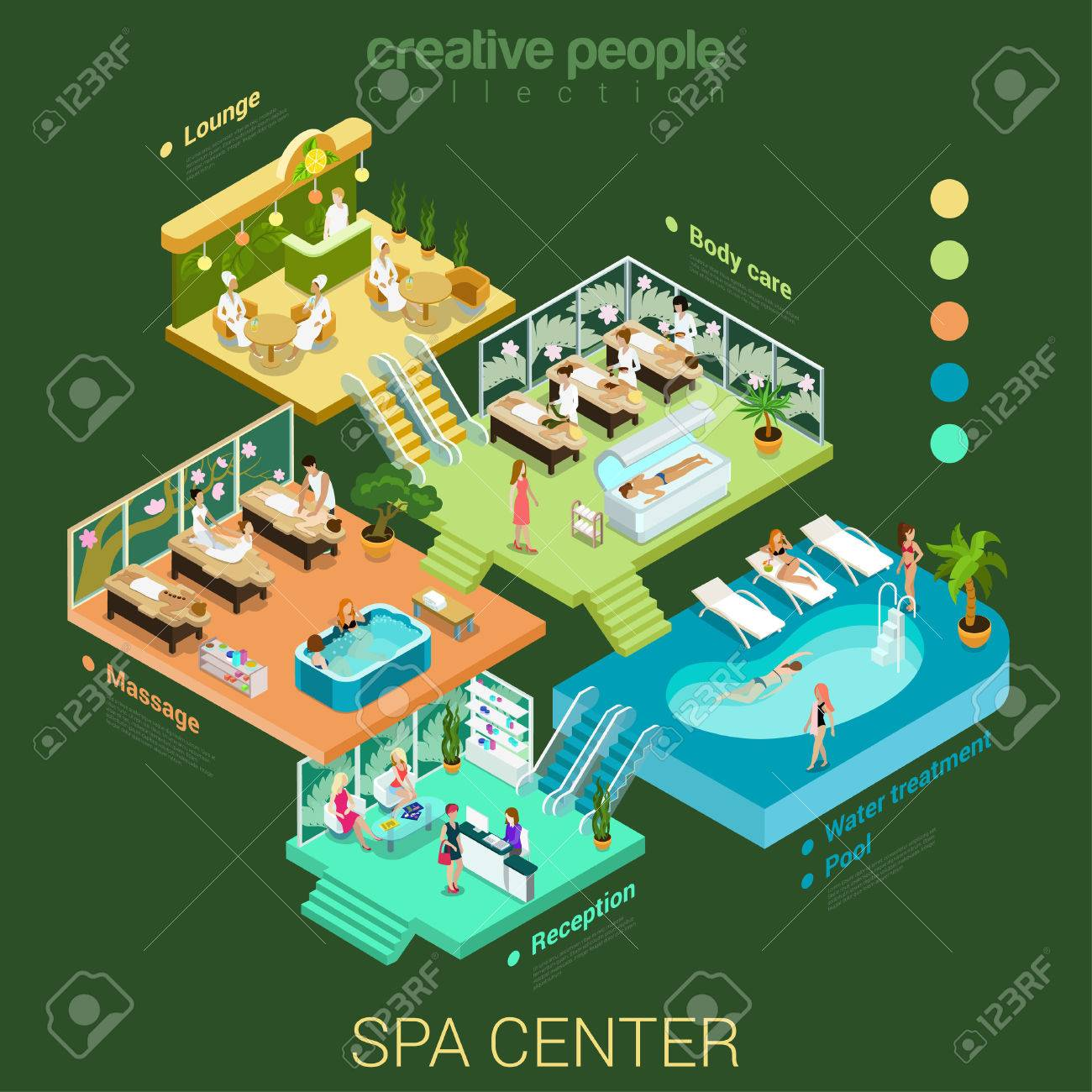 Plan 3d Salon Flat 3d Isometric Abstract Spa Salon Center Floor Interior Departments