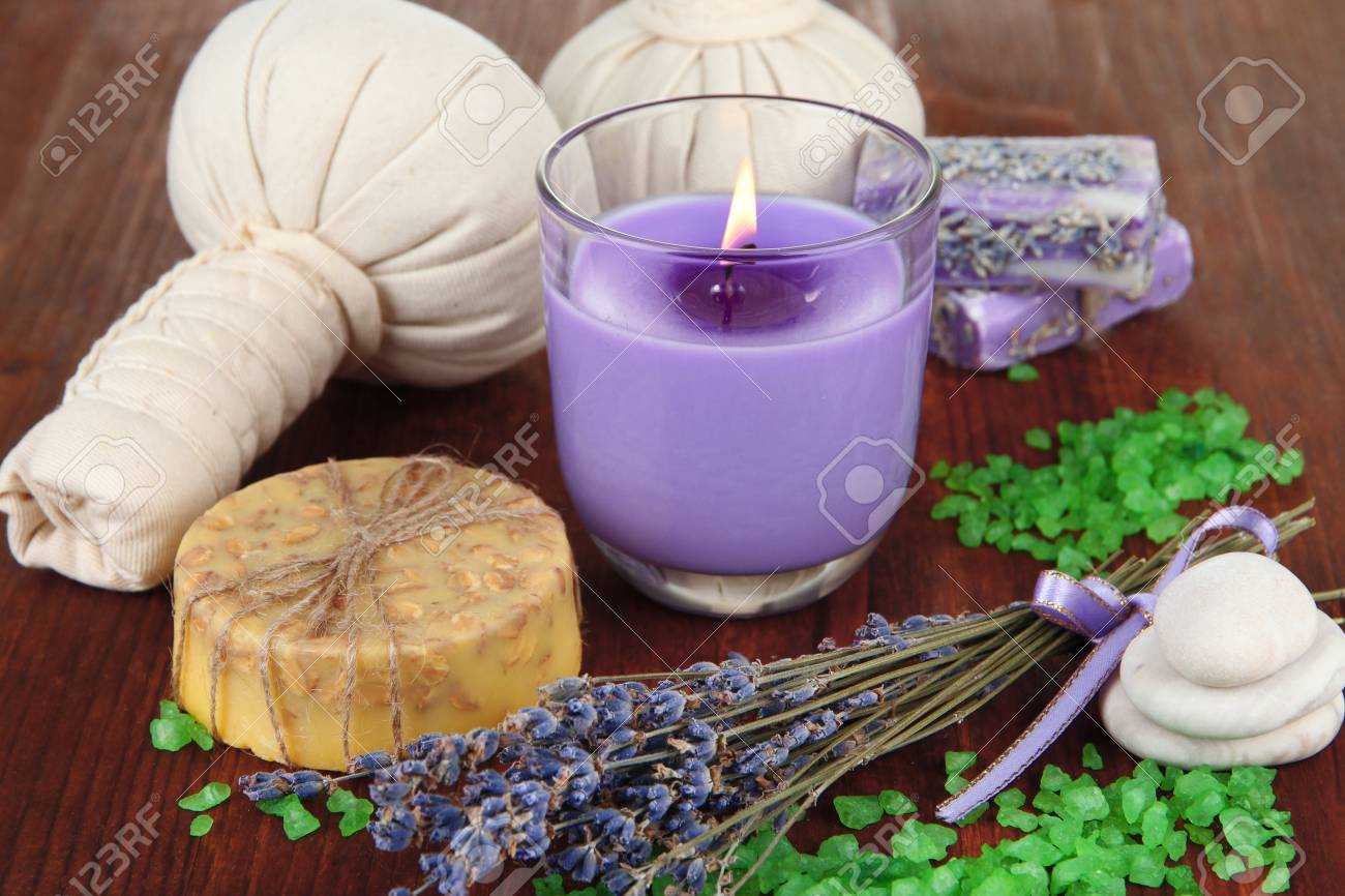 Lavendel Kerze Stock Photo
