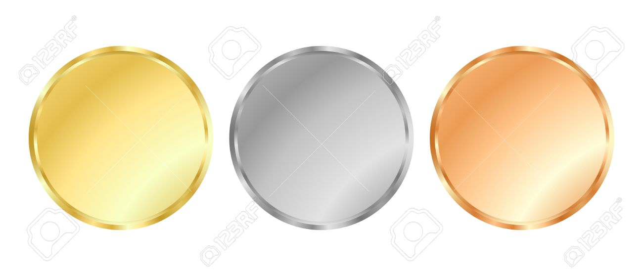 Simple Vector Template Gold, Silver, Bronze Medals For Stamps