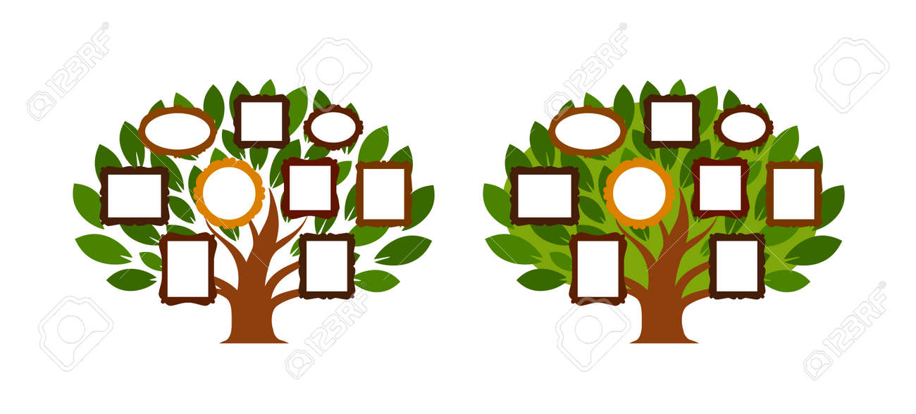 Family Tree, Genealogy Icon Or Logo Cartoon Vector Illustration