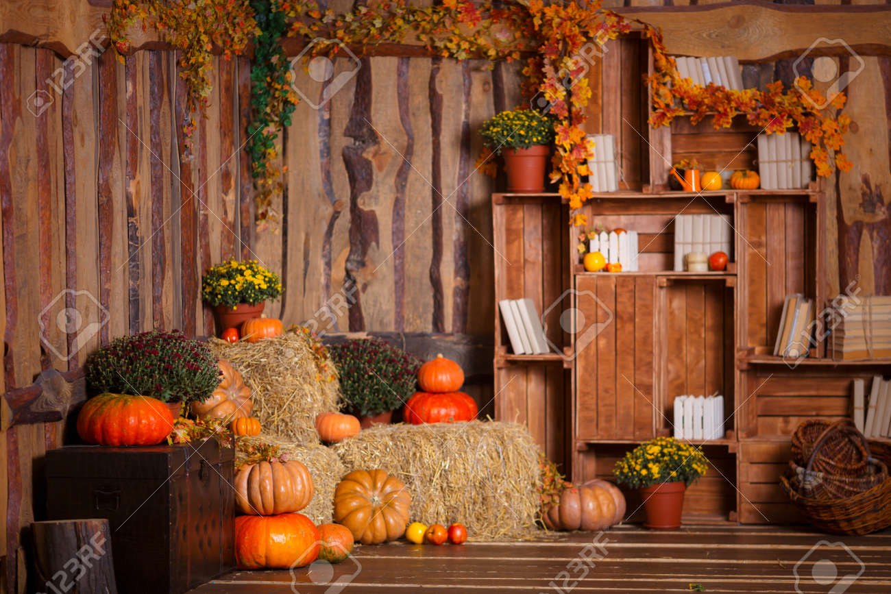 Halloween Decoration Interieur Wooden Interior With Pumkins Autumn Leaves And Flowers Halloween
