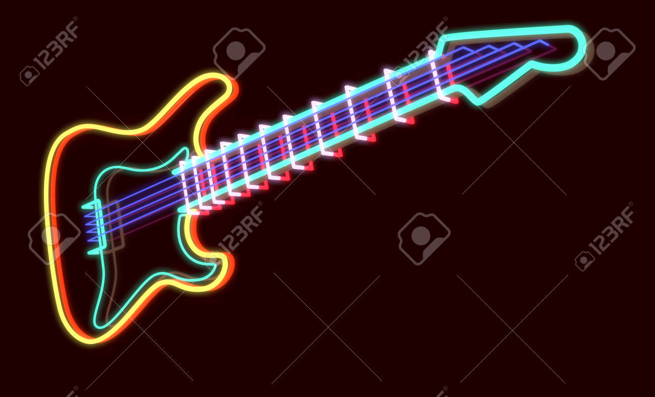 Neon Lamp 3d Rendered Guitar As Neon Lamp Dark Background
