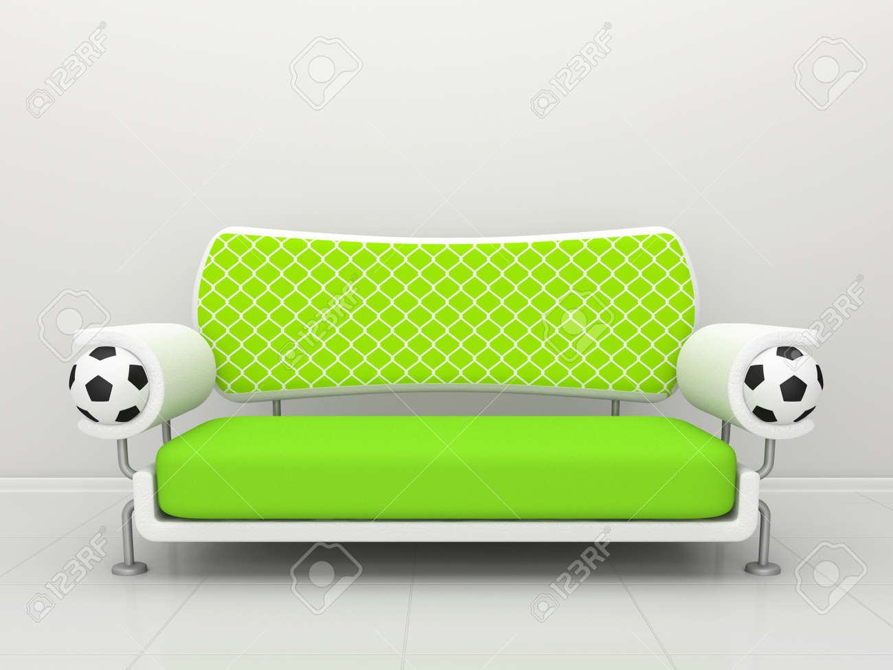 Suche Sofa Green Sofa With Soccer Balls And A Grid