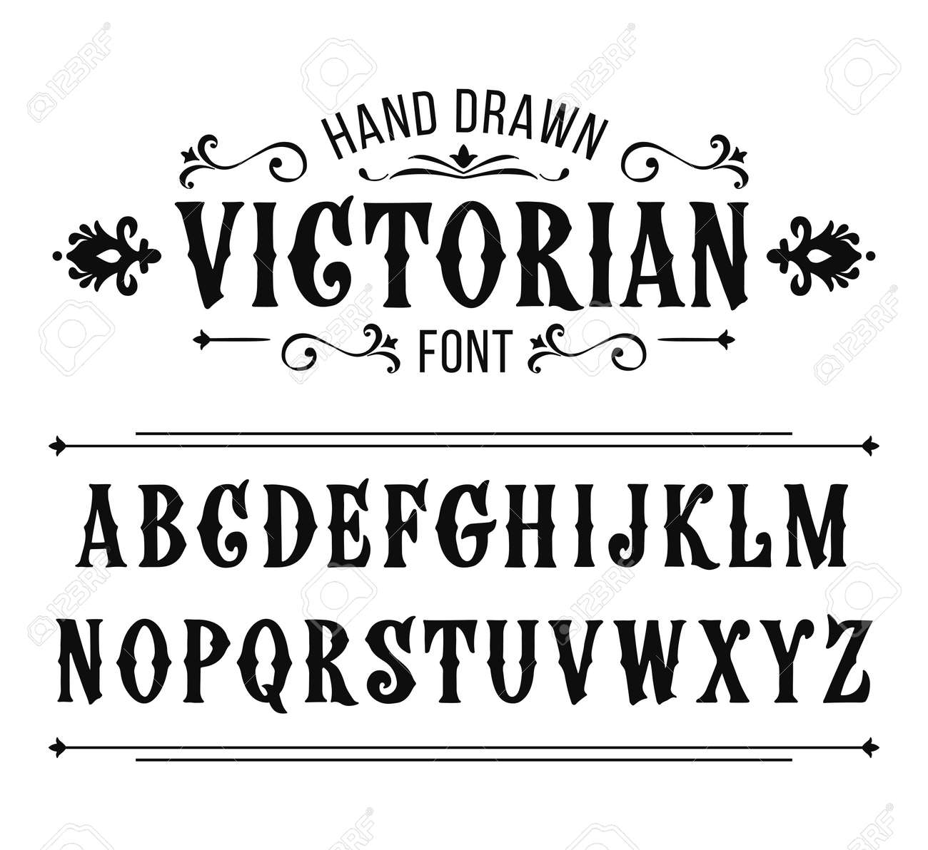 Calligraphy Fonts Victorian Hand Drawn Letters Vector Alphabet In Victorian Style