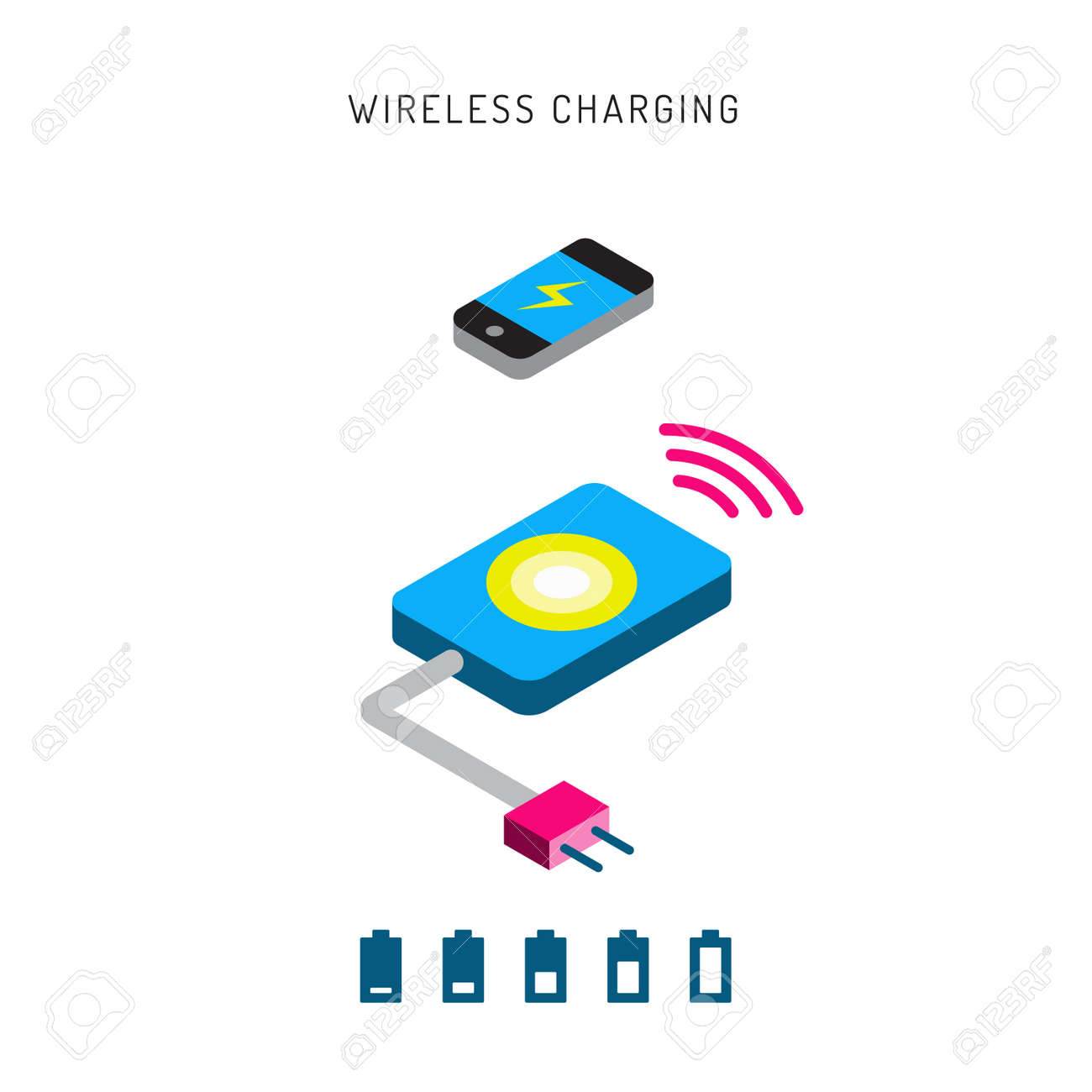 Wireless Battery Charger Charging Mobile Phones Wireless Charging Phones Outline Wireless