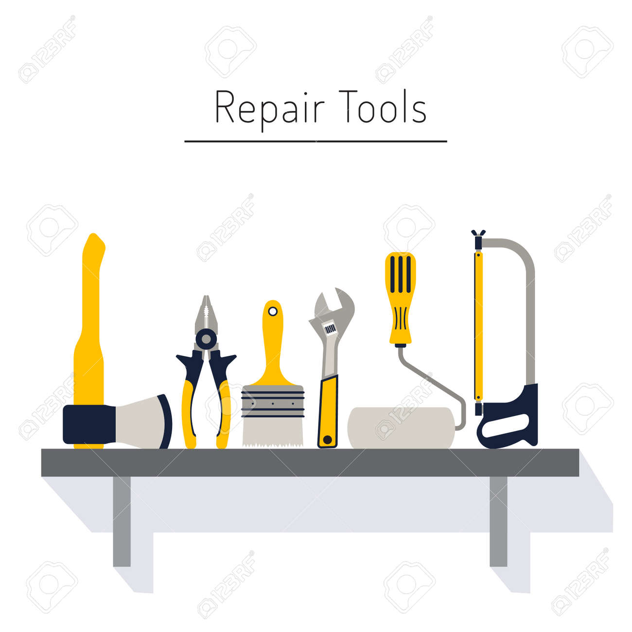 Construction Repair Construction Repair Tools Flat Icon Set Tools Like Hammer Axe