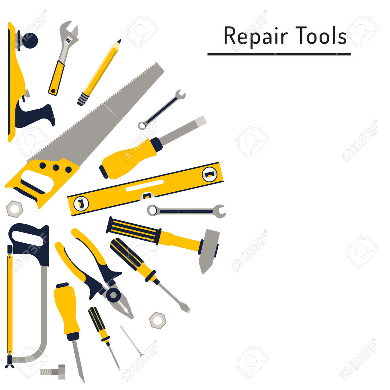 Construction Repair Do It Yourself Construction Repair Tools Flat Icon Set Tools