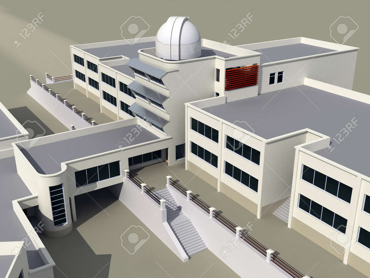 Plan Architecte 3d Architecture 3d Sketch Of The School Building With An Observatory