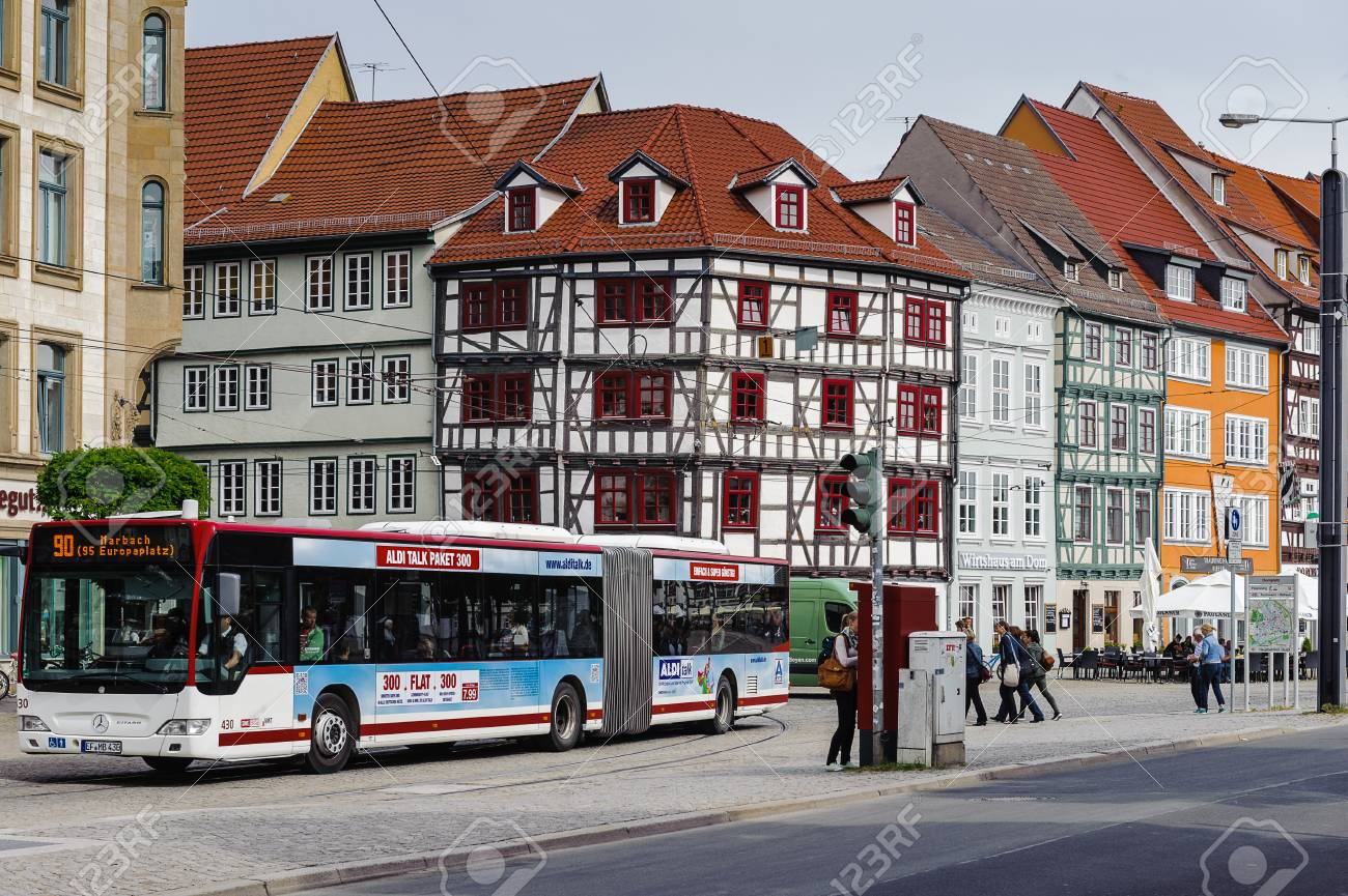 Bus Erfurt Erfurt Germany Jun 16 2014 Architecture Of The Dome Square