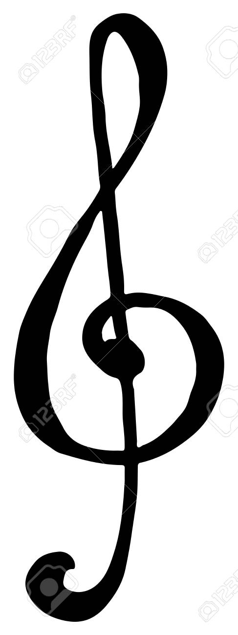 Treble Clef Key Music Hand Drawn Doodle Isolated Vector Royalty - clef music