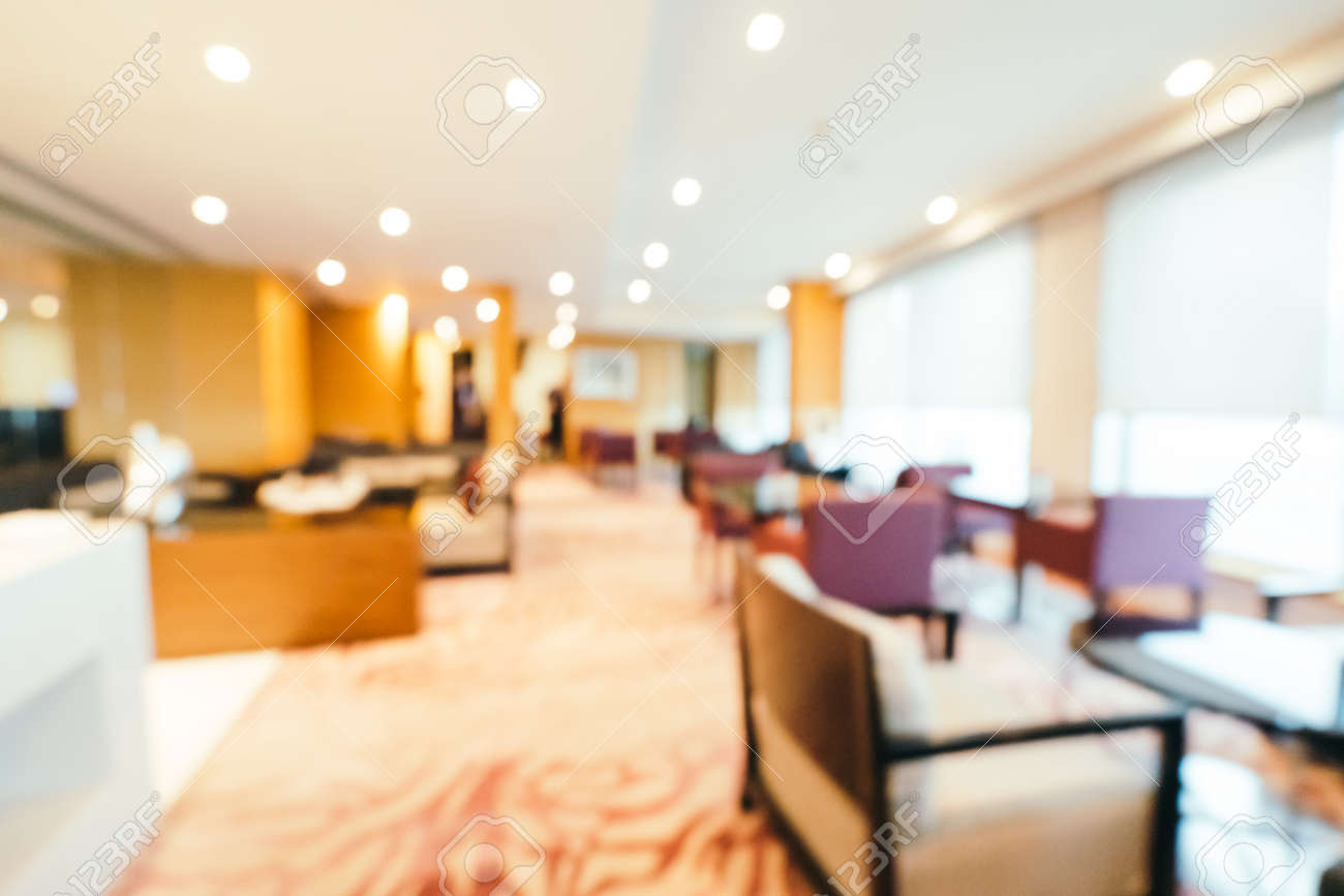 Hotel Lobby Abstract Blur And Defocused Hotel Lobby Interior For Background