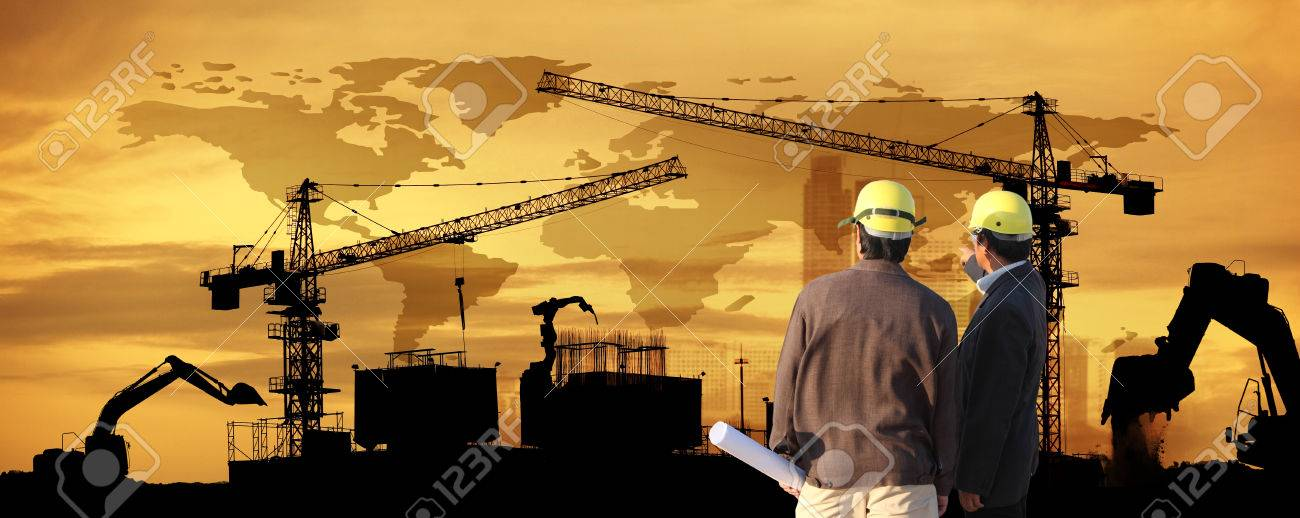 Site Manager And Project Manager On Site,two Civil Engineer Working