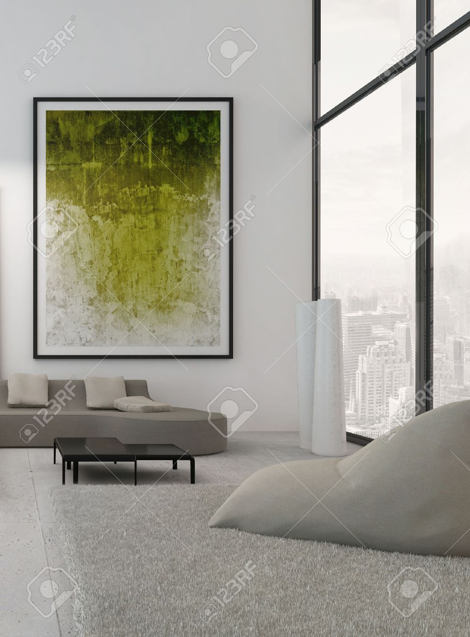 Living Room Paintings Modern Living Room Interior With Green Paintings On Wall