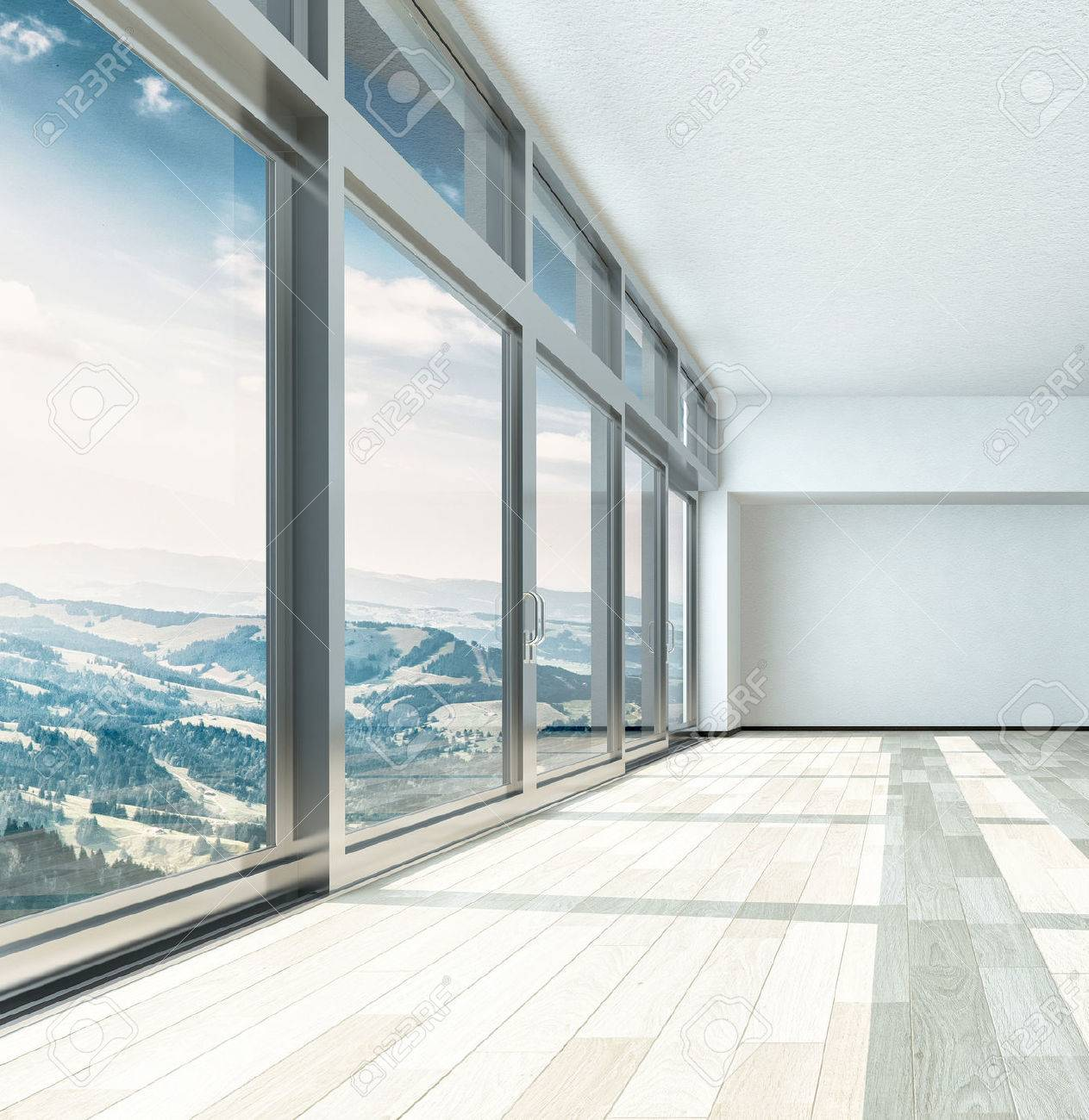 Empty living room with large windows can be as background stock - Empty Living Room With Large Windows Can Be As Background Stock Overlooking View From Large Download