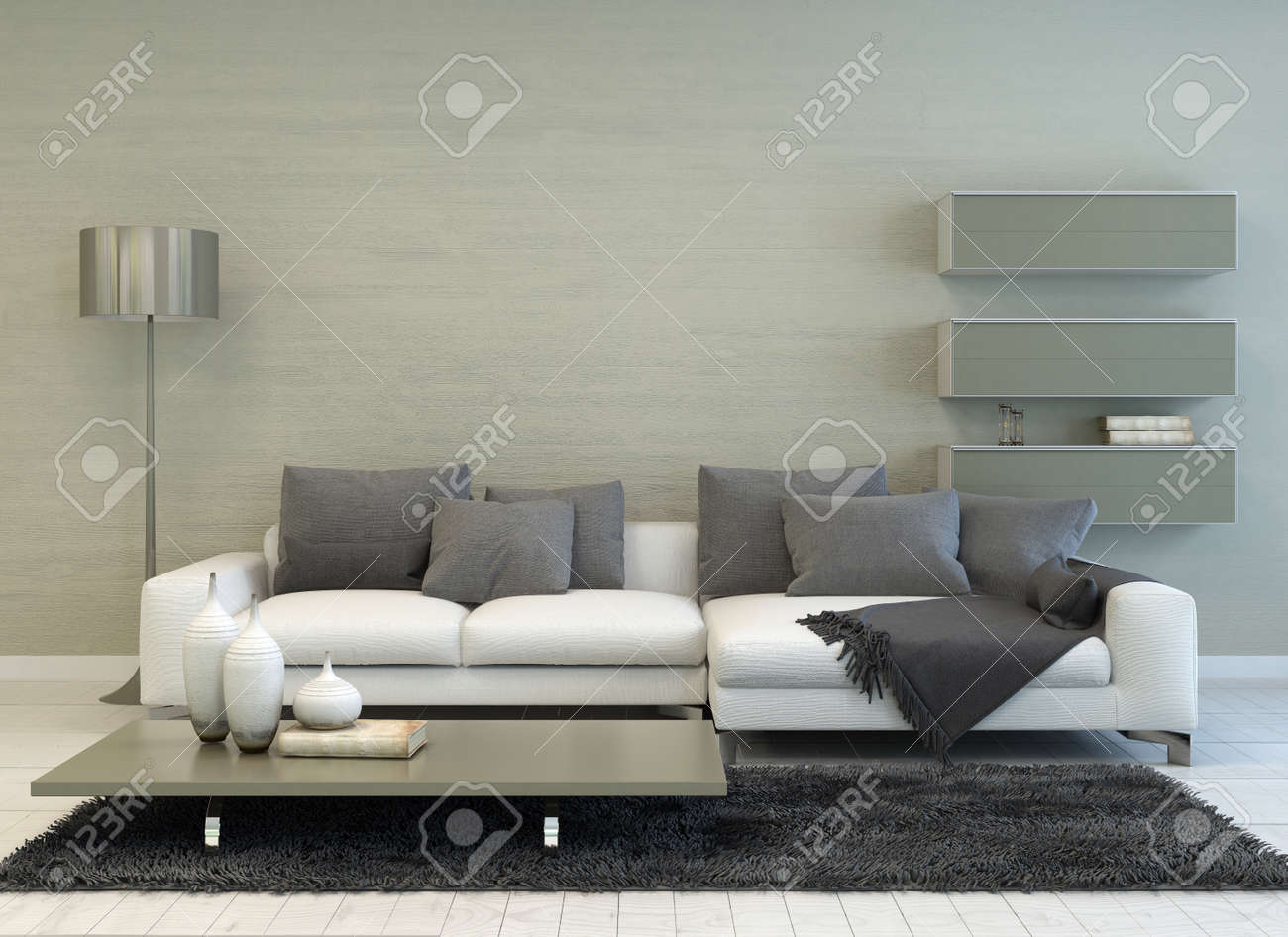 Grau Weiße Couch Stock Photo