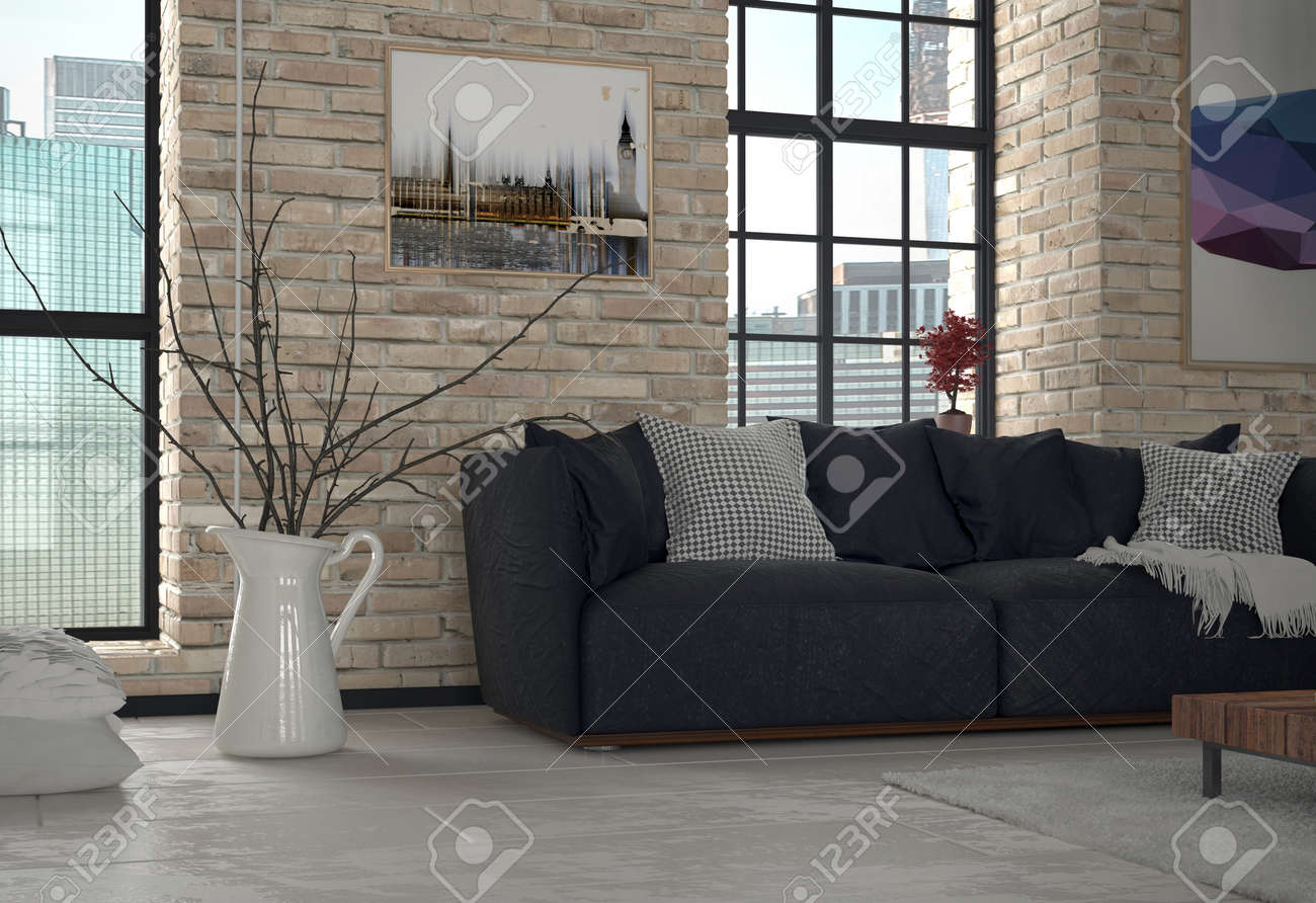 Urban Sofa Nederland Interior Of Urban Apartment Living Room With Sofa And Exposed
