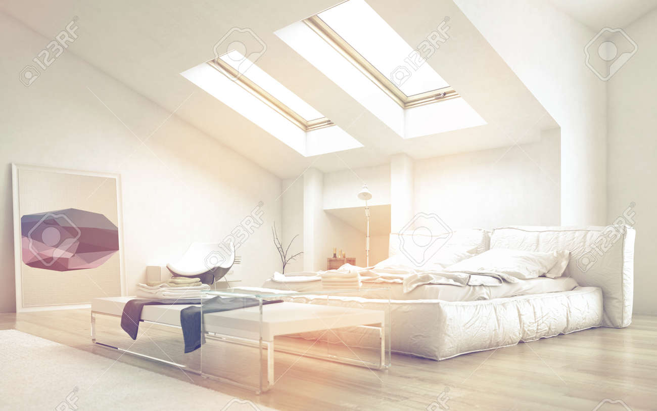 Close Up Architectural Bedroom With Glass Table And White Furniture Stock Photo Picture And Royalty Free Image Image 36693827