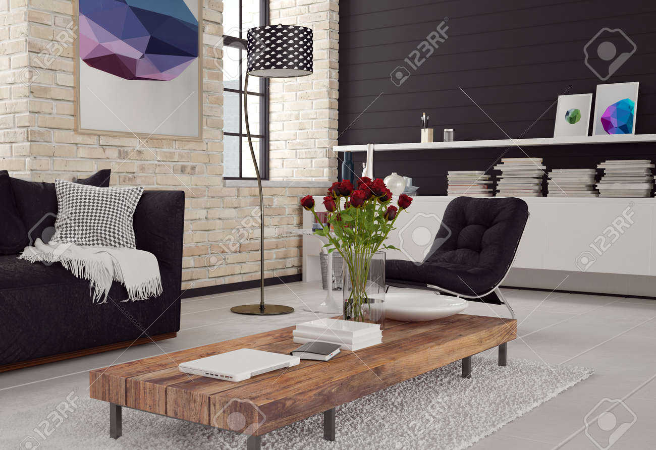 Moderne Couch Mit Sessel Stock Photo