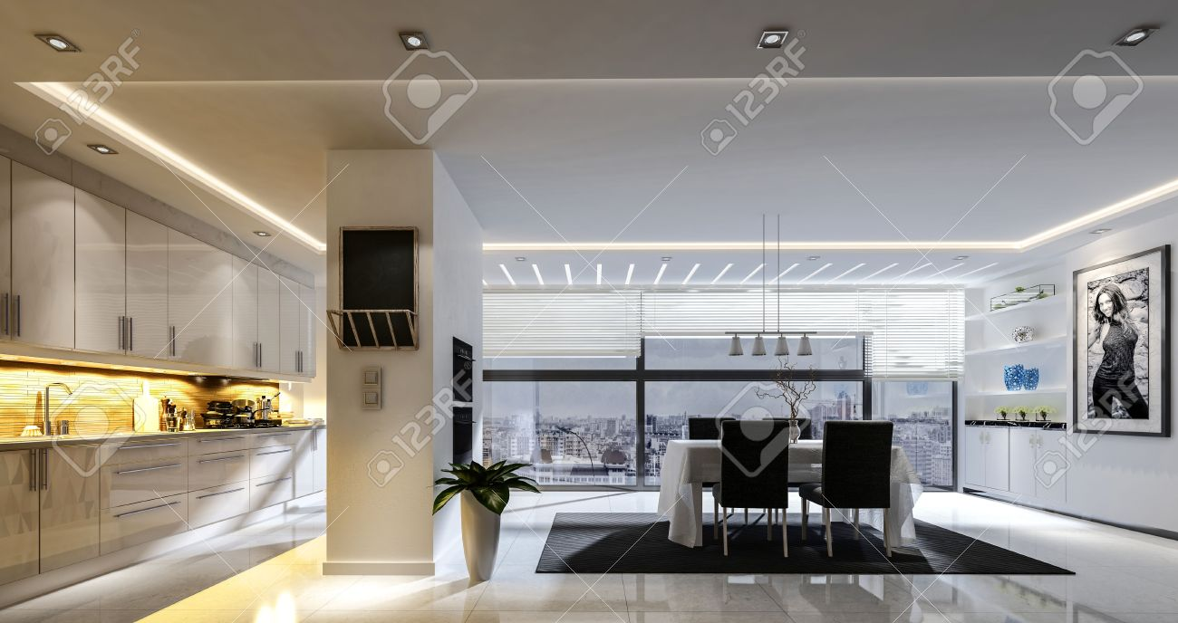 3d Rendering Of Spacious Kitchen Dining Room Combo With Track Stock Photo Picture And Royalty Free Image Image 65798426