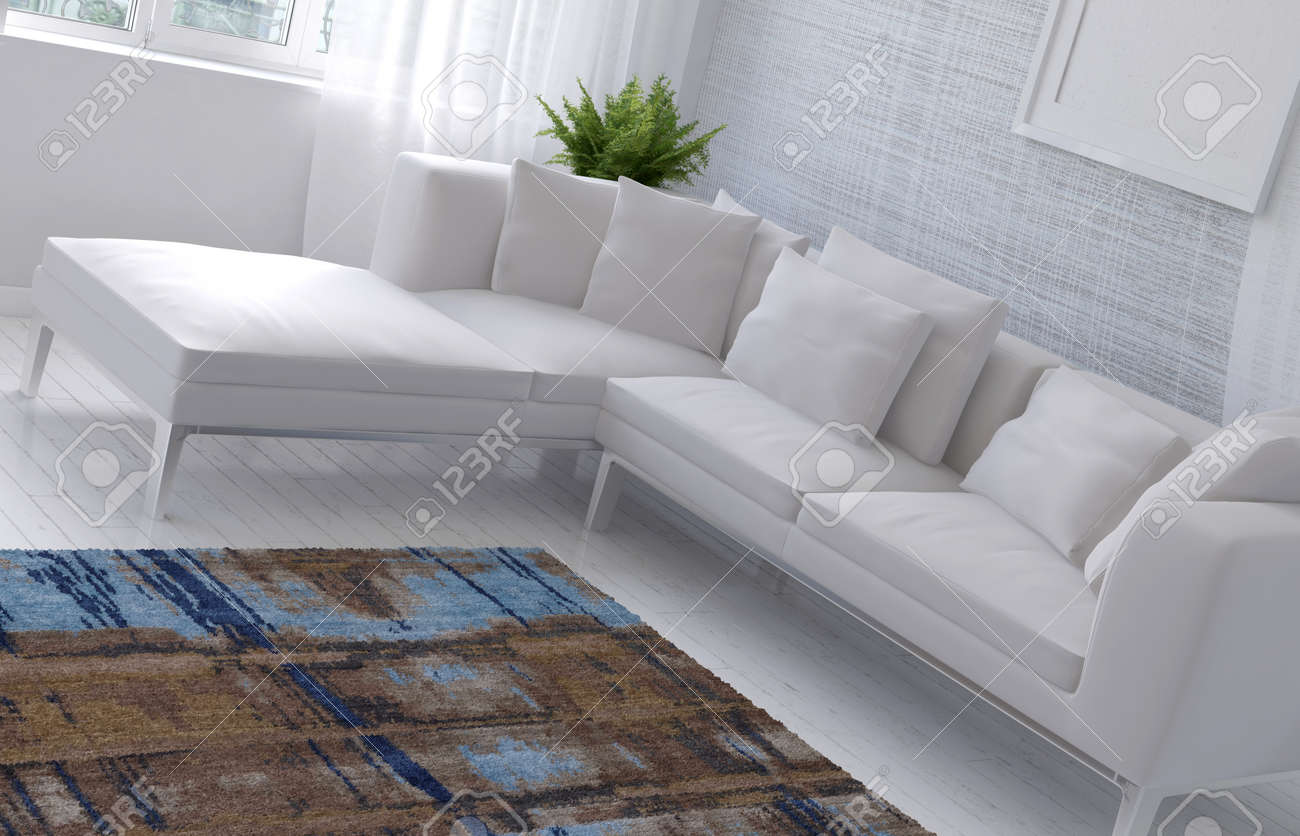 Sofa Dutch 3d Rendering Of Dutch Angle View Of Sofa And Table In Room With