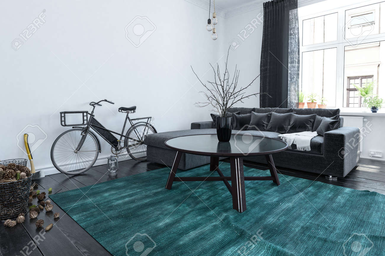 Modern Living Teppich Students Bicycle In A Modern Living Room Interior With Large